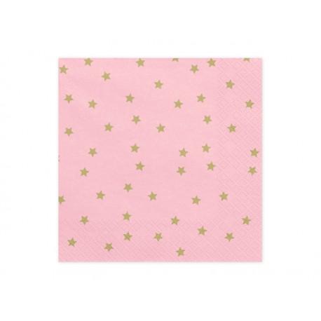 Servilletas de color rosa claro con estrellas doradas