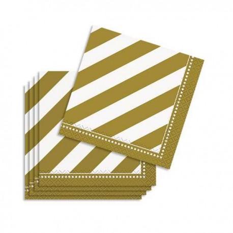 Servilletas de color blanco y dorado