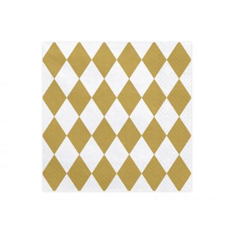 Servilletas blancas con rombos dorados