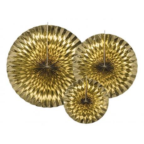 3 Abanicos de color dorado