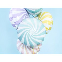 Globo foil candy de 45 cm blaco/azul claro