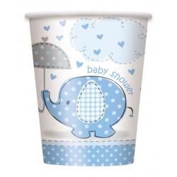 Vasos de Elefante con sombrilla azul