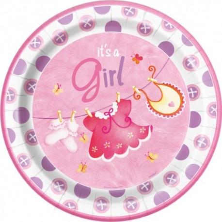 Platos de ropa de bebe rosa