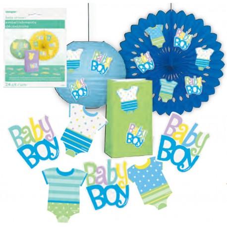 Adornos para mesa de ropa de bebe azul
