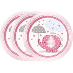 Platos de Elefante con sombrilla rosa