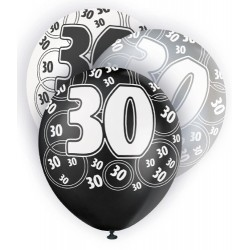 Globos 30 Cumpleaños negro/plata