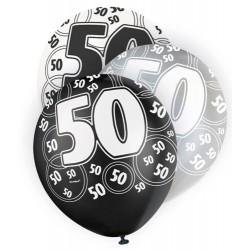 Globos 50 Cumpleaños negro/plata