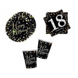 Mini pack Cumpleaños 18 negro/plata para 8