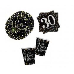 Mini pack Cumpleaños 30 negro/plata para 30