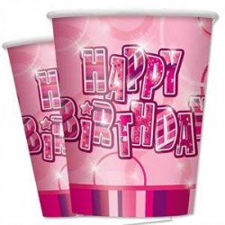Vasos Happy Birthday Rosa