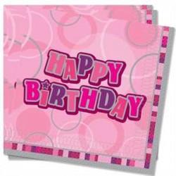 Servilletas Happy Birthday Rosa