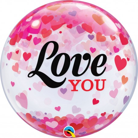 Globo Bubble I Love You Corazones Confetti