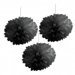 Pompones de color negro (40 cm)