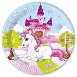 Platos de unicornio en castillo