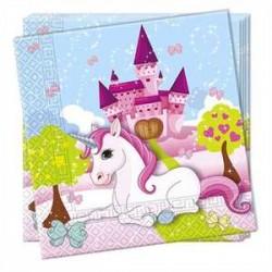 Servilletas de unicornio en castillo