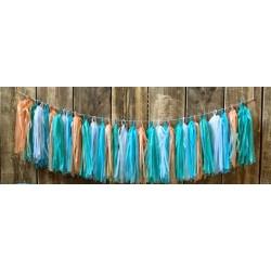 Guirnalda de borlas tonos azules