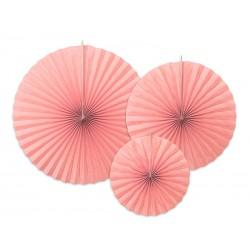 3 Abanicos lisos de color rosa