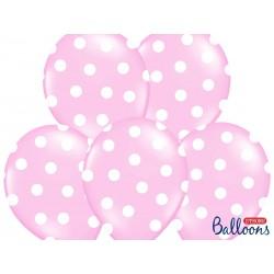 6 Globos de puntos de color rosa