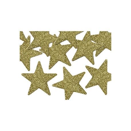 Estrellas para decoración de mesa de color dorado