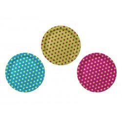 Platos de colores de lunares