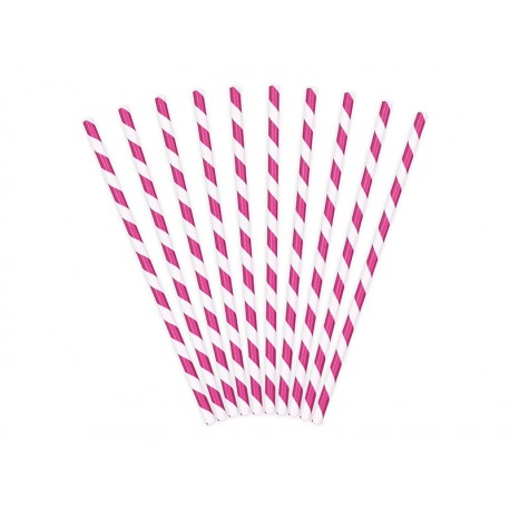Pajitas de rayas de color rosa fuerte