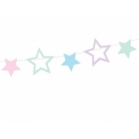 Guirnalda de estrellas de colores pastel