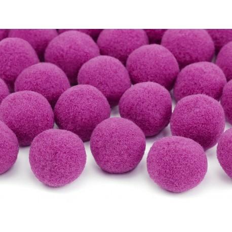 Mini pompones para mesa de color rosa fuerte