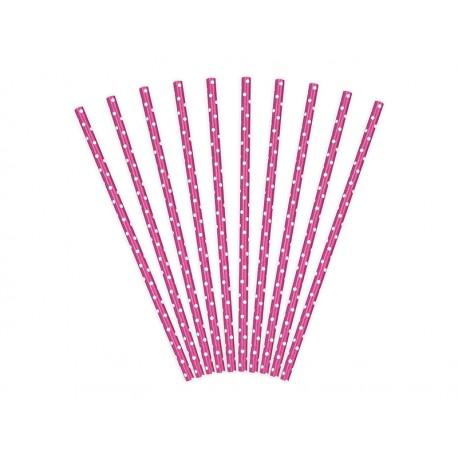 Pajitas de color rosa fuerte de lunares