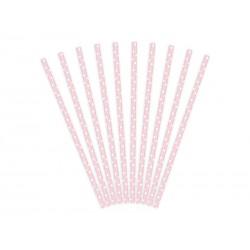 Pajitas de color rosa claro de lunares