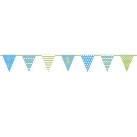 Guirnalda primer cumpleaños azul y verde