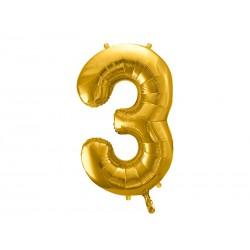 Globo dorado de foil número 3