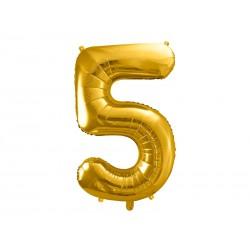 Globo dorado de foil número 5