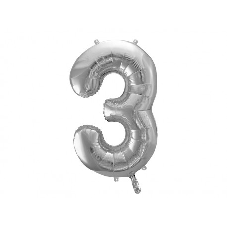 Globo plata de foil de número 3