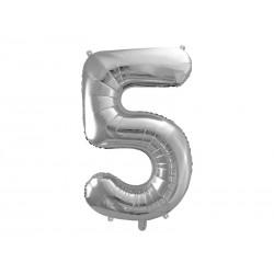 Globo plata de foil de número 5