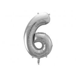 Globo plata de foil de número 6